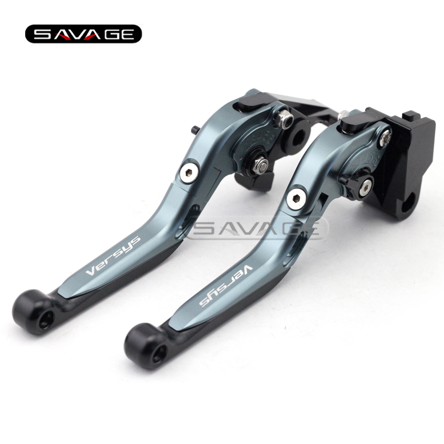 For KAWASAKI KLE 650 Versys 09-13 10 11 12 Titanium+BK Motorcycle Adjustable Folding Extendable Brake Clutch Lever Logo Versys внешний жесткий диск lacie lac9000491 500gb lac9000491