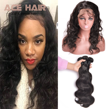 7A 360 Lace Frontal Unprocessed Virgin Brazilian Hair 2 Bundles Body wave With 360 Lace Virgin Hair 360 Body Wave  Wave Frontal