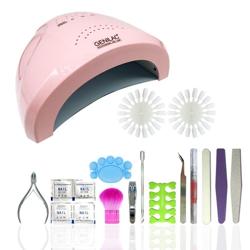ФОТО Full Nail Art Tools Cure sunone 24/48W UV Lamp Gel Polish Soak Off Base Coat Top Coat Gel Nail Nail Manicure Kits Nail Tool