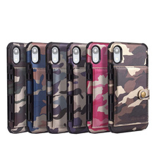 Cong fee Camouflage Wallet PU leather Phone Case for iphone 6 6s plus 7 8
