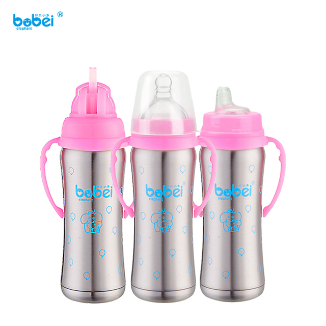 240ml newborn baby kids milk bottle feeding double stainless steel insulation with silicon nipple pacifier anti-hot handle