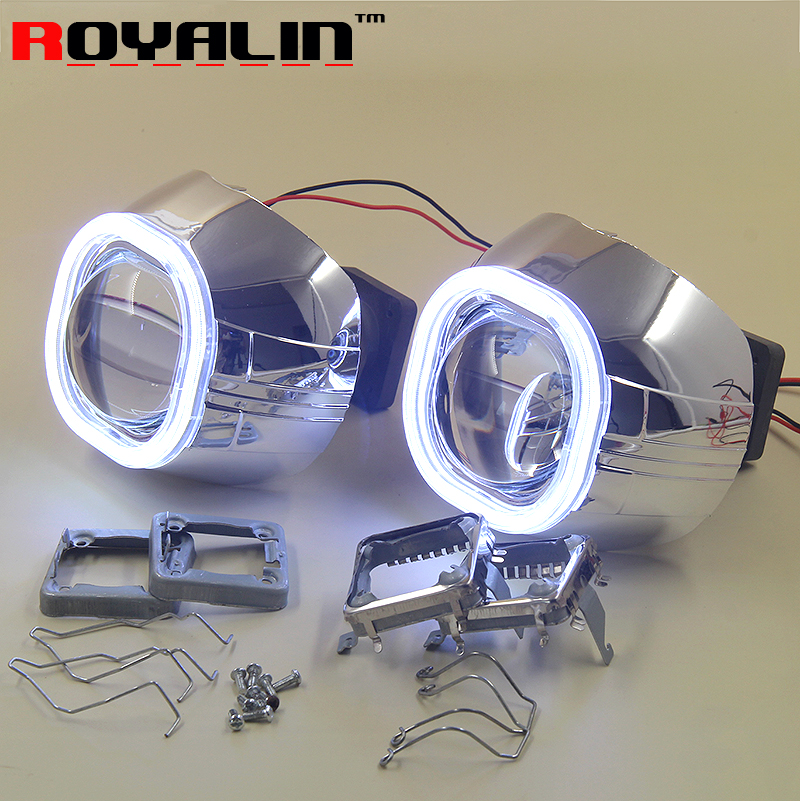 ROYALIN Car Styling 3.0 Inch HID Bi-Xenon Projector Lens LED COB Square Angel Eyes DRL Light Use D1S D2S D2H D3 D4 Car Bulbs 2x 2 5 inch led fog angel eyes cob halo ring drl projector lens driving car styling replacement accessory auto bulbs for mazda