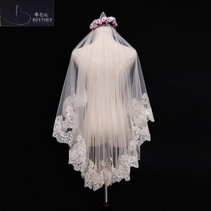 Image 3 - Veu De Noiva Ivory Champagne Wedding Veil Lace Edge Bridal Veil
