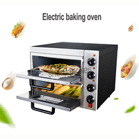 Commercial thermometer Electric double pizza oven/mini baking oven/bread/cake toaster hot Plate Oven 220v 3kw 1PC