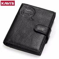 KAVIS 100 Genuine Leather Wallet Men Passport Holder Coin Purse Rfid Magic Walet PORTFOLIO Portomonee Vallet