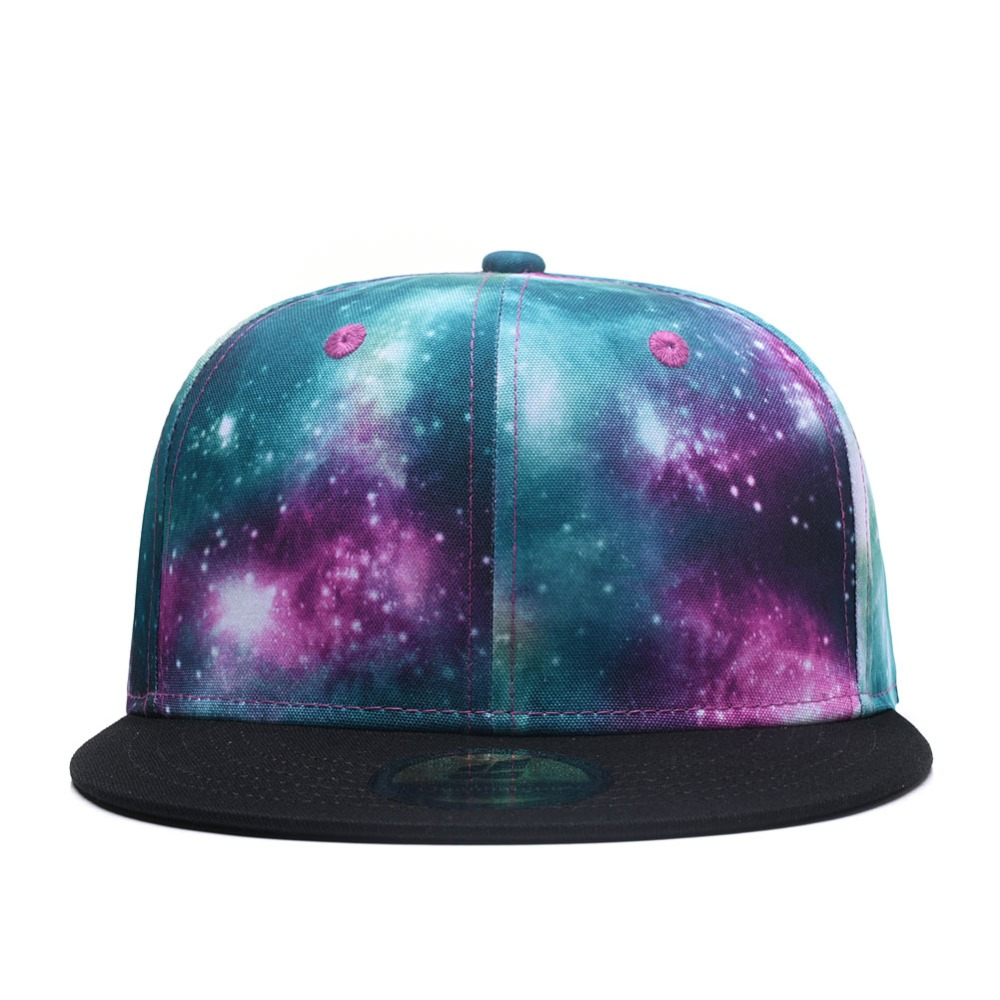 Purple Galaxy Snapback Hat Unisex Trucker Hat Hip Hop Plaid Flat Bill Brim Cap