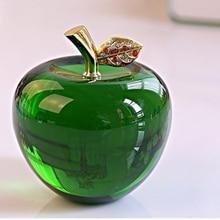 Home Decor 8cm Blue Crystal Apple Wedding Decoration White Crystal Ball Craft Gift Birthday Green Glass