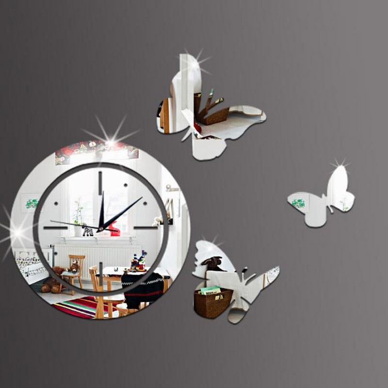 Butterfly 3D Mirror Wall Clock DIY Mirror Clocks Reflective Sticker Watch Modern Art DIY Europe Acrylic Large 3D Sticker Silver