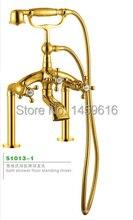 Modern Bathroom Gold Deck Mounted Bath Clawfoot Tub Faucet Handshower Brass W6018 530