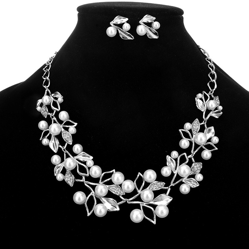 Pearl Necklace Earrings Jewelry Sets For Women Gold Silver Alloy Luxury Wedding Jewelry Hollow Out Leaf Necklace Bride Earrings in Jewelry Sets from Jewelry Accessories