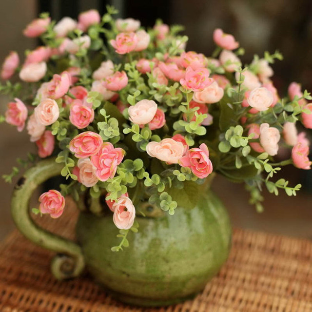 5pcs Fresh Pink Tea Rose High Artificial Flower Home Decoration ...