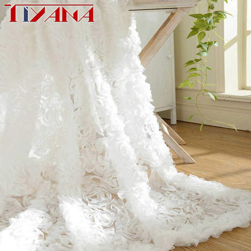 Pastoral Korean Creative White Lace 3D Rose Curtain Pink Voile Custom Window Screens For Marriage Living Room Bedroom wp148-40