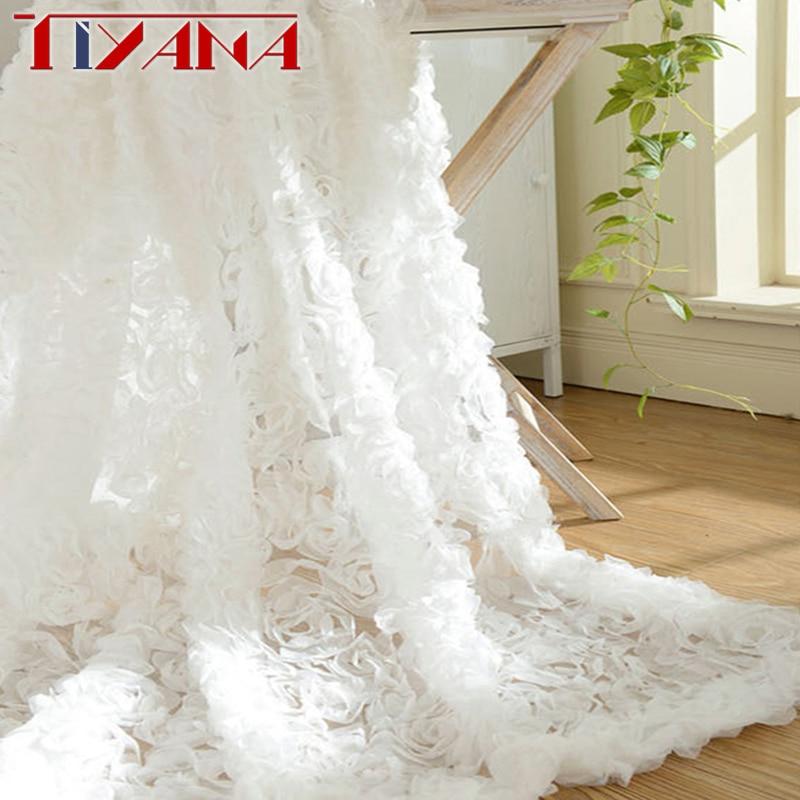 Pastoralen Koreanische Kreative Weiß Spitze 3D Rose Vorhang Rosa Voile Custom Fenster Bildschirme Für Ehe Wohnzimmer Schlafzimmer wp148-40