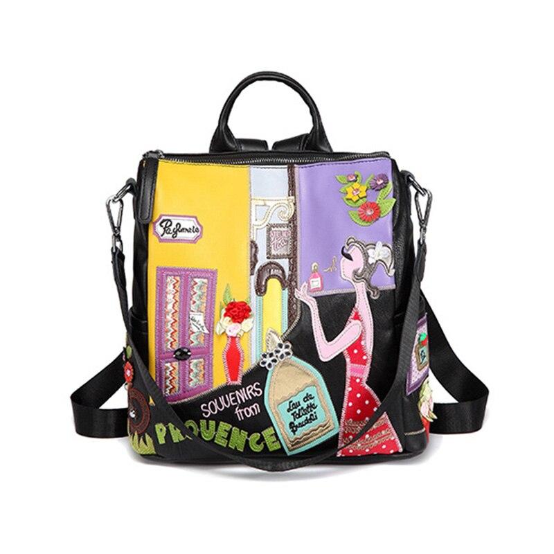 Cartoon Bag Leather Embroidery Cute Backpack Women Fashion  Cartoon Backpack  Black Women 2019 Summer Bag New