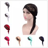 12PCS Women Hijab Cap Stretch Turban Hat Chemo Hair Loss Head Wrap Cap Headwear