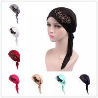 12PCS Women Muslim Hijab Cap Stretch Arab Turban Hat Chemo Hair Loss Cap Head Wrap Cap Headwear Headscarf Flower Random Color
