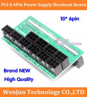 Top Sell 10* 6Pin Power Supply Breakout Board Adapter 1600W For Ethereum Mining ETH ZEC DPS 800,DPS 1200FB,PS 2751 5Q