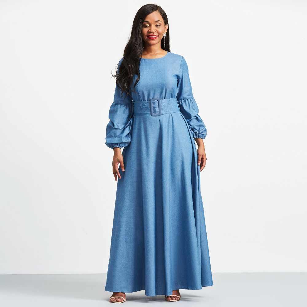 7161c6bd02 ... Women long Dresses Winter Autumn Long Sleeve Maxi Dress Elastic round  collar Dress Plus Size Ball ...