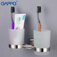 GAPPO держатели для стаканчиков из нержавеющей стали двойные стеклянные держатели для стаканчиков настенные держатели для зубных щеток аксессуары для ванной комнаты