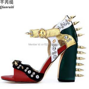 187fee970ae2 Qianruiti Big Leather Block High Heels Stiletto Sandals