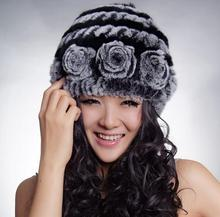 100% Real Rex Rabbit Fur Hat Thick Wool Cap Fur Flower Knitting Patterns Hats Winter Womens' Hat Headgear MS-23