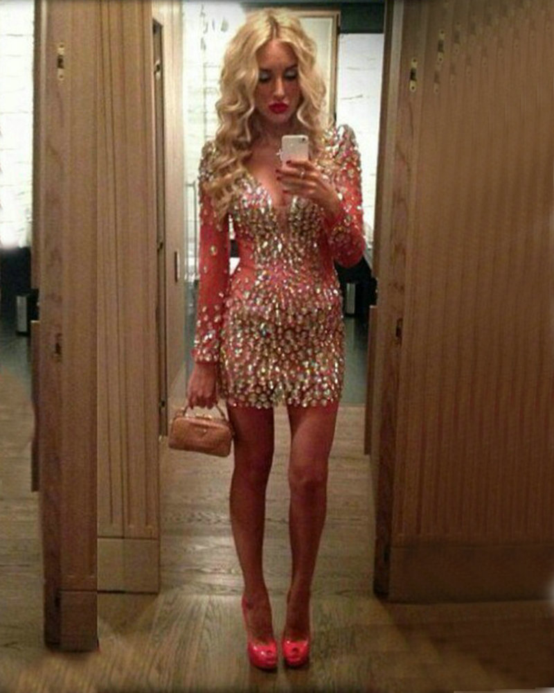 Red Cocktail Dress Long Sleeves 2016 Custom robe de Sexy Deep V Neck Open Back Sparkly Beads Rhinestone Short Party Prom Dresses