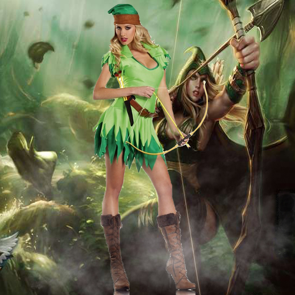 Halloween Green Jungle Peter Pan Robin Hood Cosplay Costume Female Warrior Game Uniform Temptation