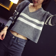 Jepanese Korean Style Knitted Sweater Women Casual Stripe V Neck Long Sleeve Short Pullover Crop Sweater Black White Gray Red T5