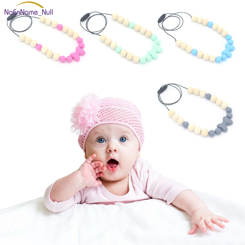 New Baby Teether Necklace Silicone Wood Pendant Beads Bow Knot Teething Nursing Toys #330
