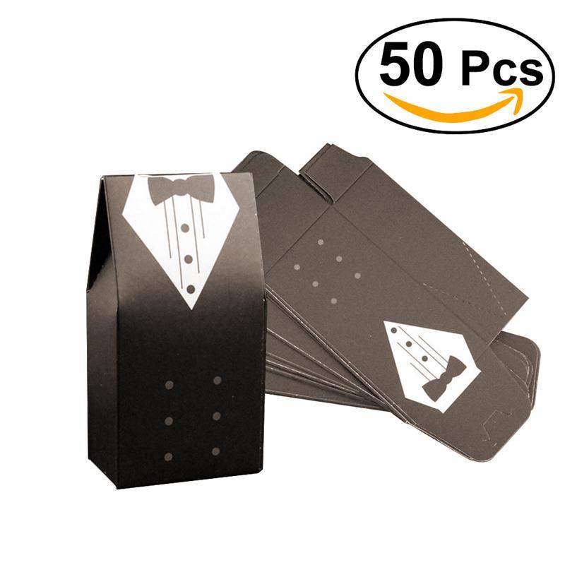 50pcs Bride And Groom Candy Bag Wedding Box Favor Gift Bo White Black