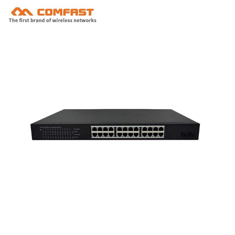 2019 COMFAST 24 Ports Gigabit Poe commutateur 24*10/100/1000 Mbps Auto RJ45 Ports industriels POE Ethernet commutateur pour une utilisation en entreprise