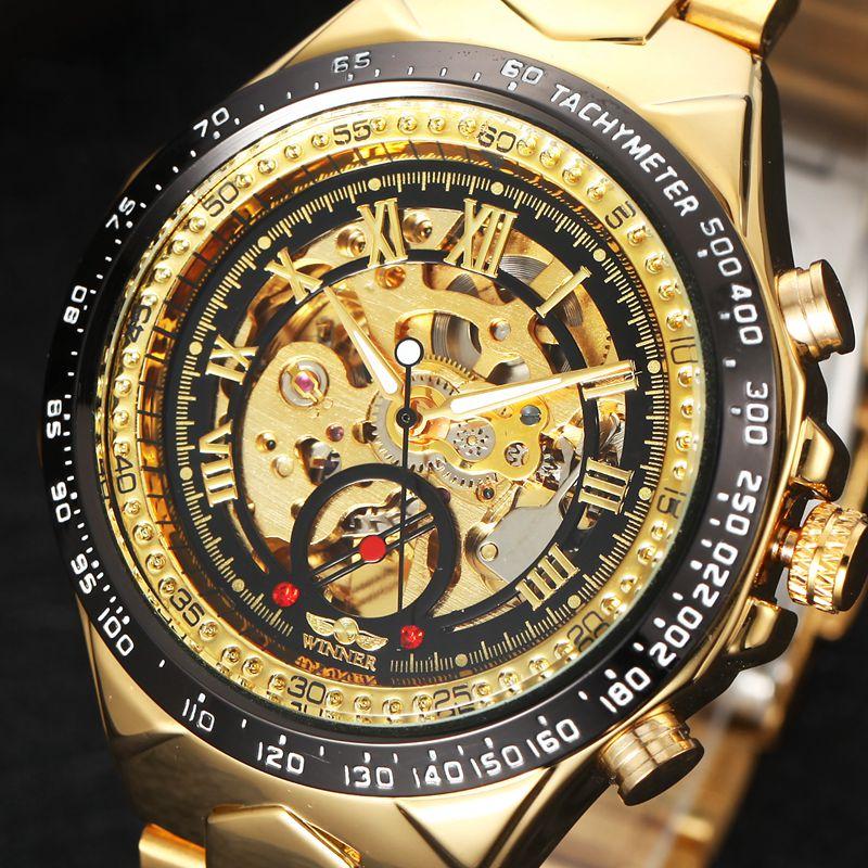 Prix pour Montre de luxe Hommes Squelette Automatique Montre Mécanique Or Squelette Vintage Watchskeleton Homme Montre Mens Watch Top Marque De Luxe