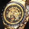 Relógio de luxo Homens Esqueleto Relógio Mecânico Automático Ouro Skeleton Watchskeleton Homem Do Vintage Relógio Mens Assistir Top Marca de Luxo