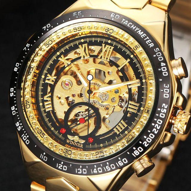 e48c993bdc8 Relógio de luxo Homens Esqueleto Relógio Mecânico Automático Ouro Skeleton  Watchskeleton Homem Do Vintage Relógio Mens