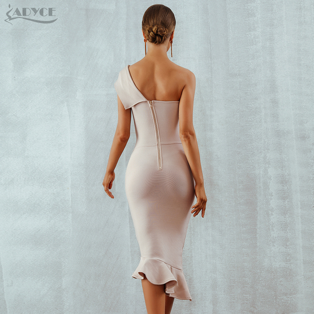 One Shoulder Sleeveless Ruffles Dress  2