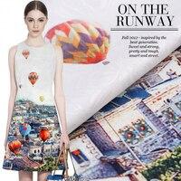96 140CM Pcs Hot Air Balloon France Imported Digital Printing Jacquard Fashion Fabric For Dress Tissu