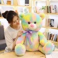 45/60 cm Soft Decent Beanie Boo Eyes Rainbow Bear Plush Toy Stuffed Animal Teddy Bear Bed Placting Toy For Children's Gift