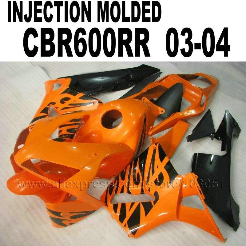 High quality ABS 100% INJECTION fairings kit for 2004 Honda CBR600RR 2003 CBR 600 RR 03 04  orange black fairing bodykit injection molded fairing kit for honda cbr600rr 03 04 cbr600 cbr600rr f5 2003 2004 complete matte black abs fairings set zq15