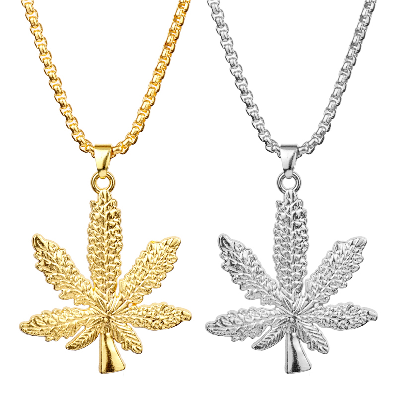 MQCHUN Fashion Silver Gold Color <font><b>Cannabiss</b></font> Small Weed Herb Charm <font><b>Necklace</b></font> Maple Leaf Pendant <font><b>Necklace</b></font> Hip Hop Jewelry For Men image