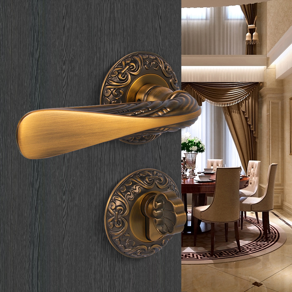 SUCIN Door Locks Antique Split Lock Sets Wooden Door Interior Locks Zinc Alloy Brass Lock Cylinder Handleset Classic Handle 9112 2017 new arrival special offer padlock cadeado bronze interior door split locks bedroom mute wooden ceramic handle lock