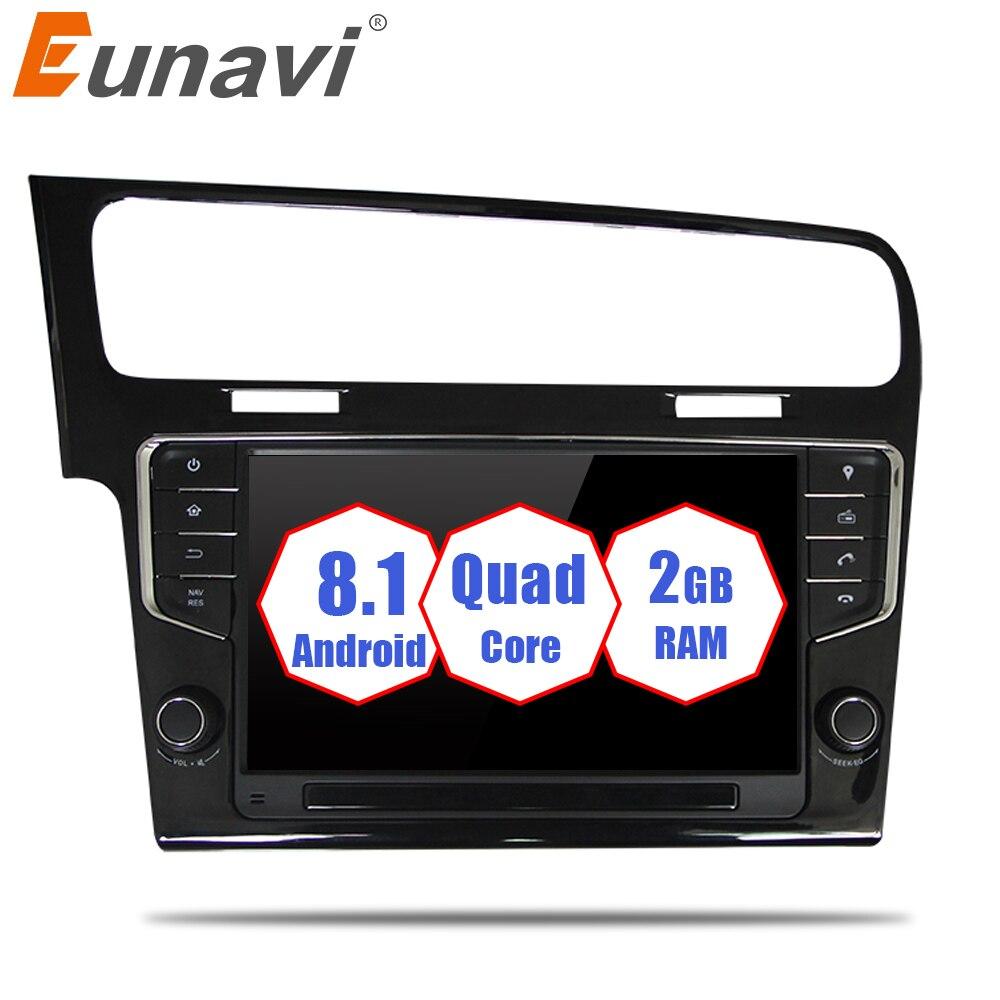 Eunavi Quad Core 9 ''1 din Android 8.1 autoradio Lecteur navigation gps pour VW GOLF 7 golf7 2013-2017 unité de tête stéréo audio