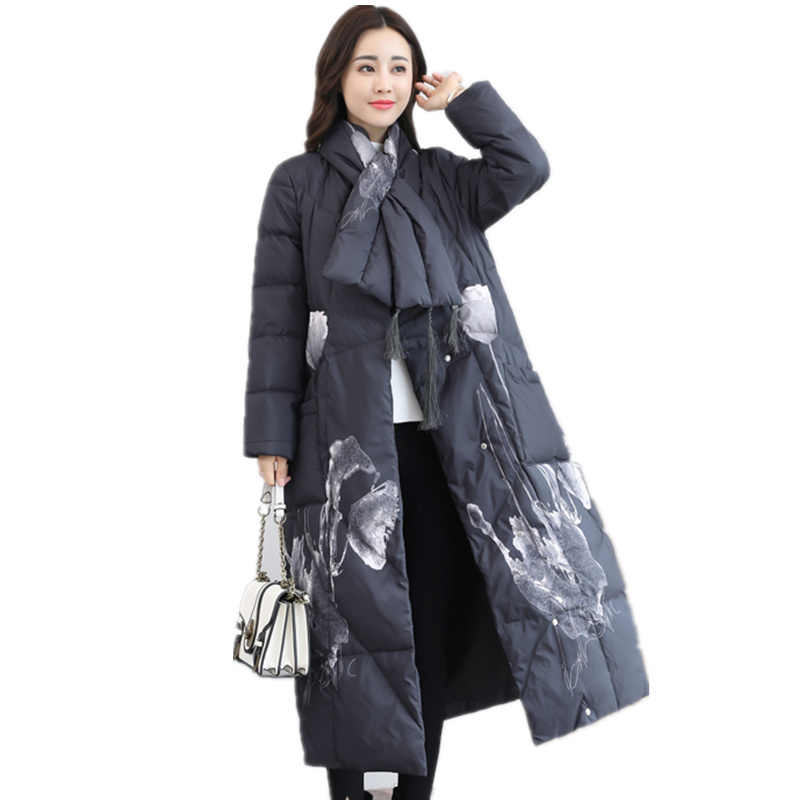 New Women's Down Jacket Fashion Elegant Winter Jacket Women Printing White Duck Down   Parka   Women Vintage Long Coat Jackets C3883