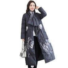New Women's Down Jacket Fashion Elegant Winter Jacket Women Printing White Duck Down Parka Women Vintage Long Coat Jackets C3883