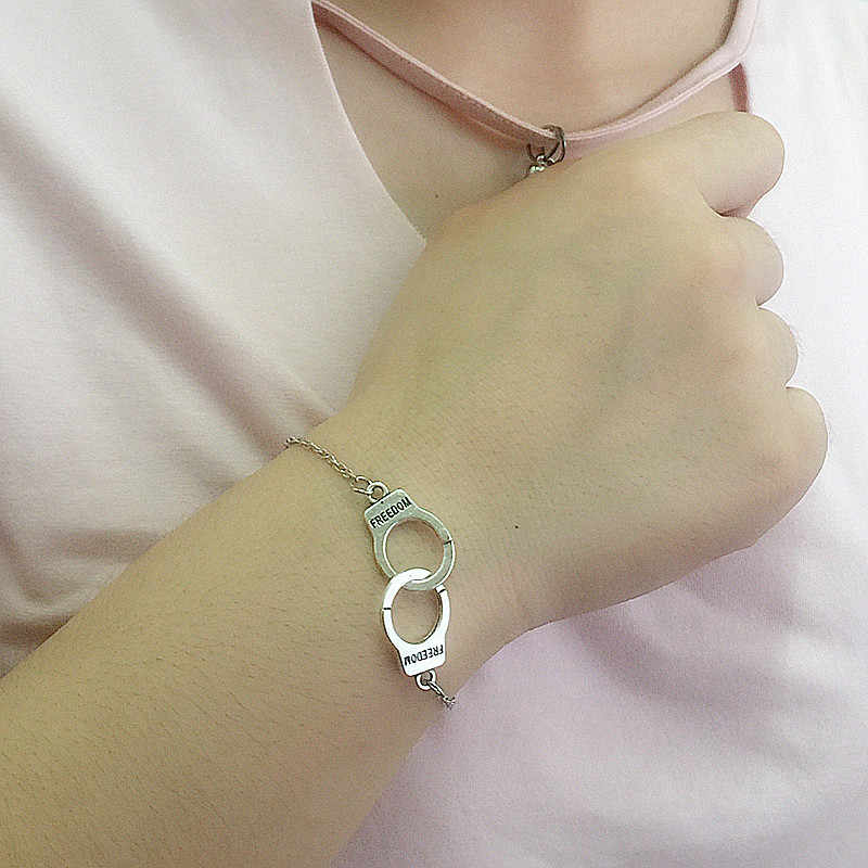 Kolor srebrny kajdanki Punk bransoletki dla kobiet bransoletki srebrne bransoletki łańcuchowe biżuteria lato styl prezent ns210