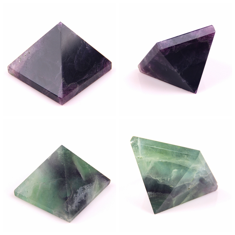 2017 Natural crystal pyramid green purple Rainbow fluorite point chlorophane pyramid pendant 40mm *40mm wholesale Chakra Healing