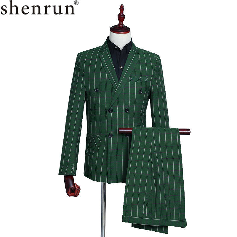 Shenrun Men's Suits Green Checked Double Breasted 3-Piece Suit Jacket Vest Pants Wedding Business Party Prom Stage Male Costumes
