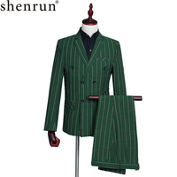 Shenrun Men's Suits Green Checked Double Breasted 3 Piece Suit Jacket Vest Pants Wedding Business Party Prom Stage Male Costumes