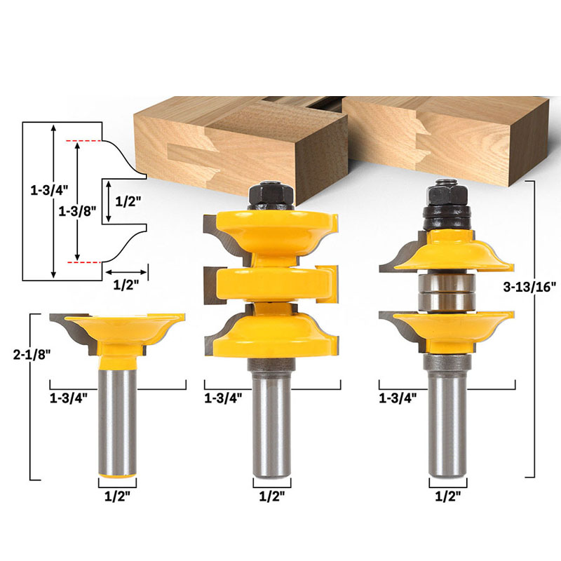 1 2 Shank 3 pcs Entry Interior Door Ogee Matched R S Router Bit