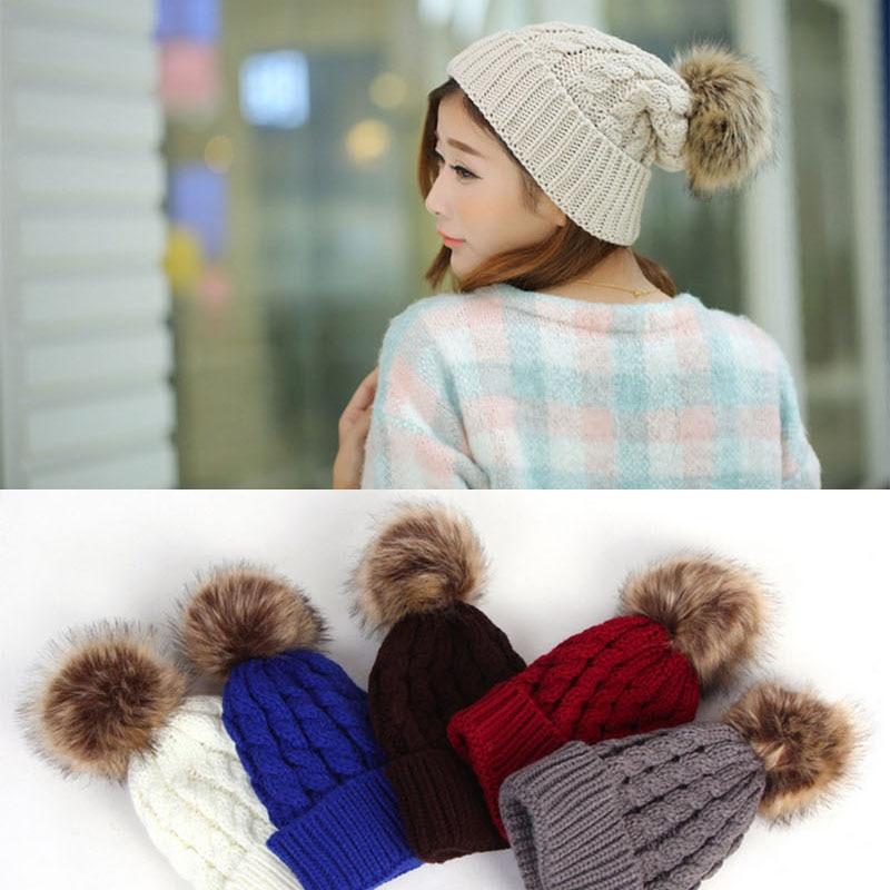 US $6 61 |Women's Cap Beanie Knitted Hats Crochet Winter Hats For Women  Female Cute Casual Fur Pompom Beanies Ear Fur Pompom Sport 27-in Women's