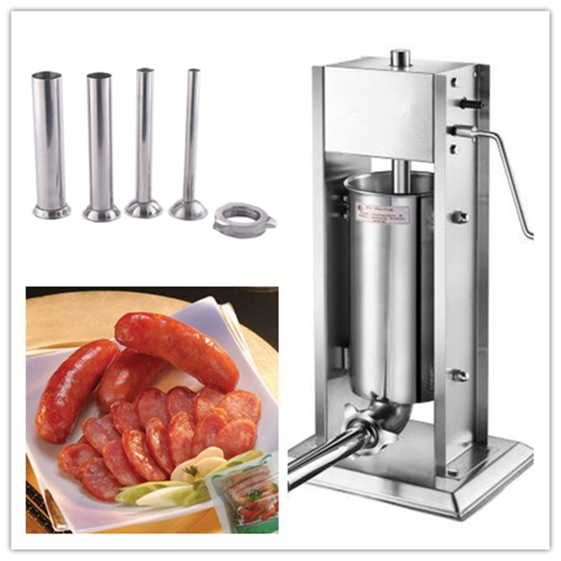5L commercial vertical manual hand crank sausage filler making machine meat sausage stuffer maker